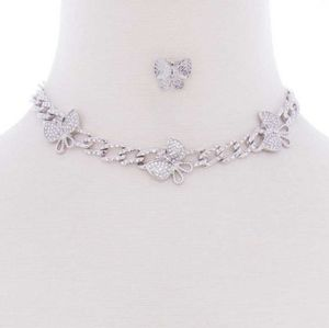 Butterfly metal chain necklace and earring set